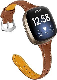 Bracelet de montre en cuir véritable compatible avec Fitbit Sense/Versa 3, bracelet de rechange pour homme avec boucle en ...