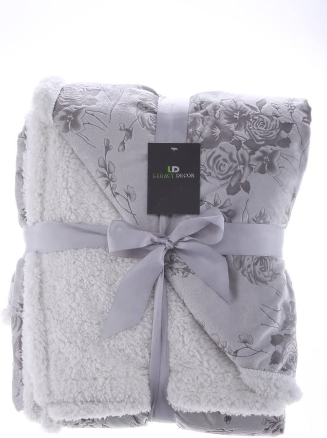 Legacy Decor Sherpa and Micro Charlotte Mall Cheap Fur Embossed Floral Throw Blanket