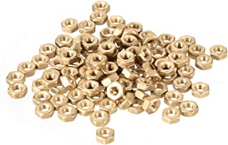 uxcell Hex Nuts, M3x0.5mm Metric Coarse Thread Hexagon Nut, Brass, Pack of 100