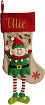The Christmas Cart Personalised Boy Elf Christmas Stocking with Dangly Legs, Fun Stocking for Your Mantle or Hanger, 50cm ...