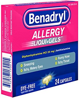 Benadryl Allergy, Dye Free Liquid Gels, Pack of 24