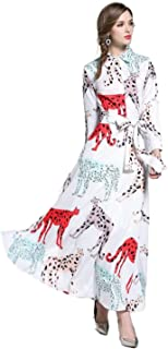 Y&D قميص طويل الرقبة نمط طباعة الحيوانات فستان مستقيم بأكمام كاملة للنساء اللون الأبيض