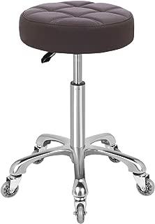 KARRIE Swivel Stool Chair Adjustable Height,Heavy Duty Hydraulic Rolling Metal Stool for Kitchen,Salon,Bar,Office,Massage (Coffee)