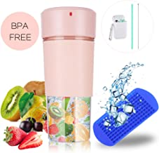 Portable Blender with Unique Straw/Mini Portable Juicer with 350ML BPA-Free Juicer Cup/Personal Fruit Mixer with 1 Blade for Juice, Smoothie and Milkshake