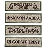 SpaceCar Don't Tread On Me, in God We Trust, We The People, Molon Labe Tactical Morale Badge Patches - Bundle 4 Pieces Coyote