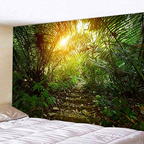 KHKJ Tapiz de Paisaje de Bosque Natural Escena psicodélica Mandala Tapiz Decorativo para el hogar sábana de colchón de Yoga Bohemio Hippie A2 200x180cm