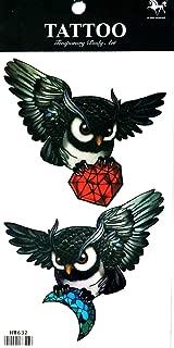 PP TATTOO 1 Sheet Owl Diamond Tattoos Body Art Fake Tattoo for Women Men Teens Arm Temporary Tattoo Body Sticker