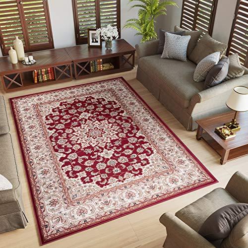 Tapiso Colorado Teppich Wohnzimmer Klassisch Kurzflor Rot Beige Creme Floral Medaillon Ornament...