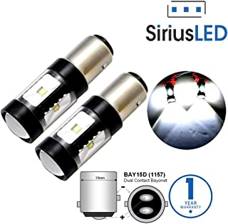 SiriusLED 30W 1157 2057 2357 7528 BAY15D P21/5W Dual Brightness LED Lights Bulbs with Projector for Turn Signals Reverse Backup Brake Tail Lights Xenon White