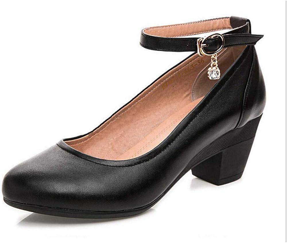 Ranking TOP17 Seasonal Wrap Introduction BININBOX Women's Heel Round Toe Ankle Ladies Shoes Strap P Pumps
