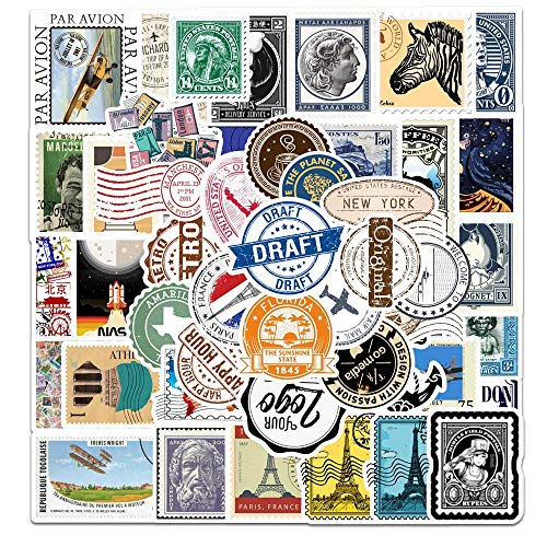 YZFCL Vintage Travel Stamp Graffiti Sticker Casco Maleta Scooter Notebook Guitar Phone Sticker 50 Uds
