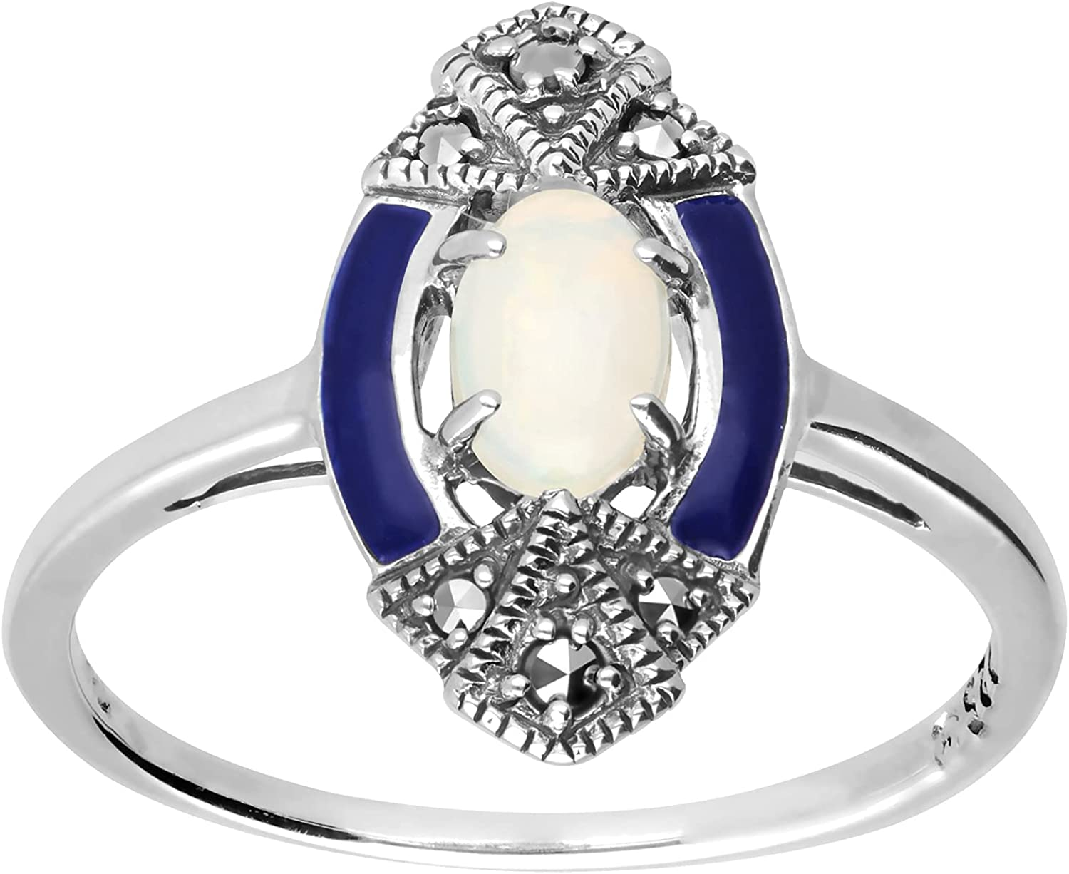 925 Cheap super special price Ranking TOP16 Sterling Silver Opal Marcasite Art Ring Deco