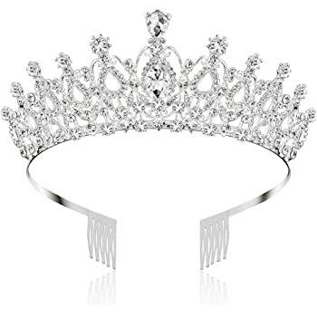 Makone Crystal Crowns and Tiaras with Comb for Girl or Women Birthday Party Valentines Gifts Wedding Tiaras (Style-5)