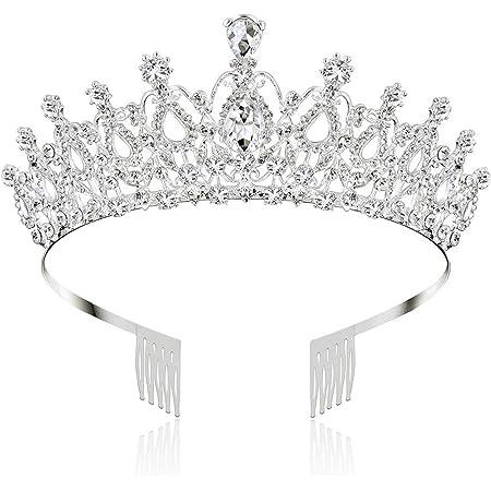 Makone Corona Tiara Regina diadema di Cristallo Pettine per Sposa Principessa Donna Bambina Coroncina Pageants Parti Compleanno Corona Tiara