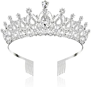 Makone Tiara Cristal Couronne avec Strass Peigne pour Couronne De Mariée Proms De Mariage Concours Princesse Parties