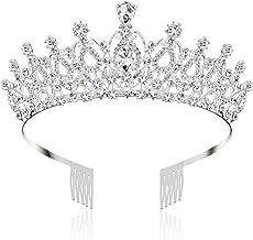 Lurrose Tiare Couronne Anniversaire 13 Ans en Strass Cristal Diad/ème Cristal Couronne de Princesse avec Peigne Bandeaux Mariage Bijoux pour Femmes Argent