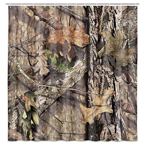 JAWO Camo Hunting Shower Curtain, Mossy Oak Camouflage Patterns, Country Farmhouse Fabric Shower Curtain Set with Hooks 69W X 70L Inches