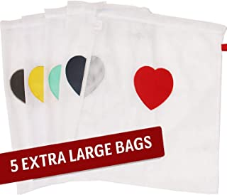 Set of 5 Extra Large Mesh Laundry Bags for Washing Machine and Dryer - Save Time Sorting Socks - Make Sock Laundry Simple – Heart Patch in