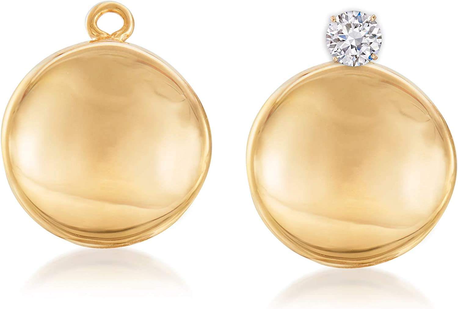 Ross-Simons 14kt Yellow Gold Concave Sale price Earring Drop Ja Spring new work Disc Petite