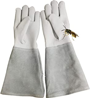 Beekeeping Gloves, Gardening Gloves, stab-Resistant and Cut-Proof, Sheepskin (Color : White, Size : XL)