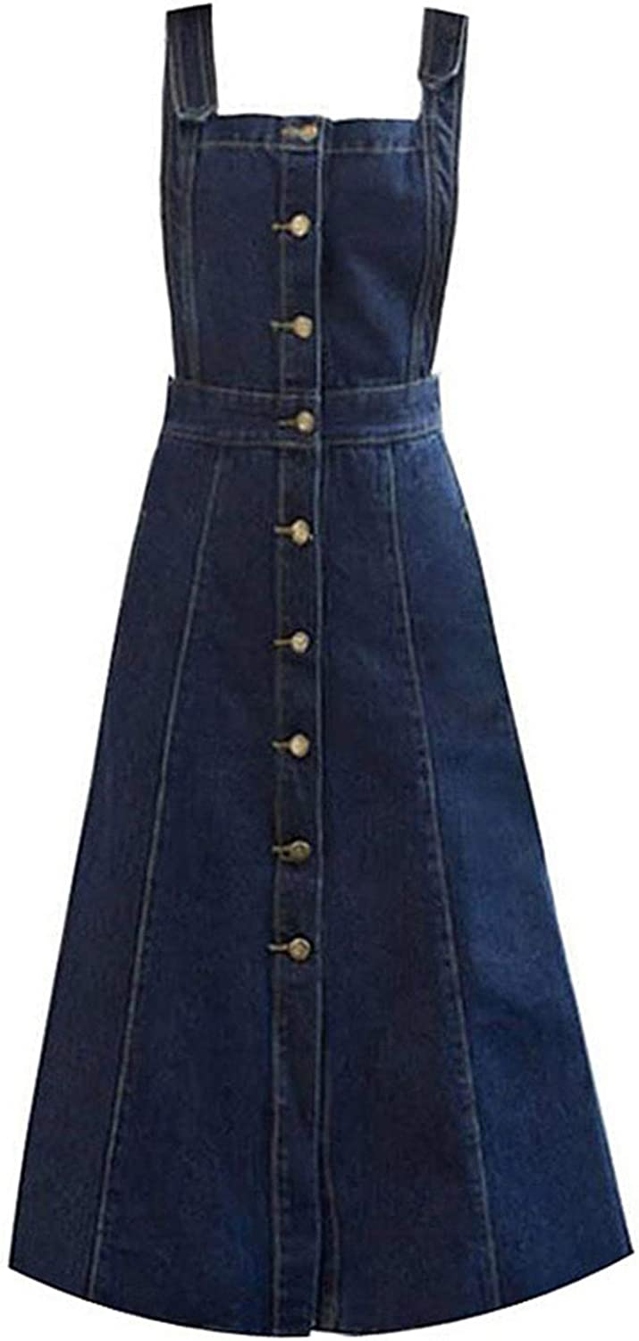 Jeans Skirt with Straps Women Denim Skirts Womens Long Jeans Button Skirt Strap