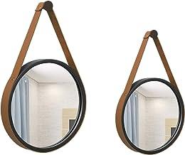 Kit Espelho Decorativo Adnet Preto 20 E 30 Cm Alça Caramelo Redondo