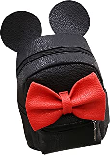 Women Girls Cute Mini Backpack Casual Travel Mouse Ear PU Leather Shoulder School Bag Rucksack Daypacks, Black, One Size