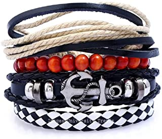 University Trendz Multiple Layers Leather and Charms Multi-Strand Bracelet for Men and Boys- Black (Pack of 4)