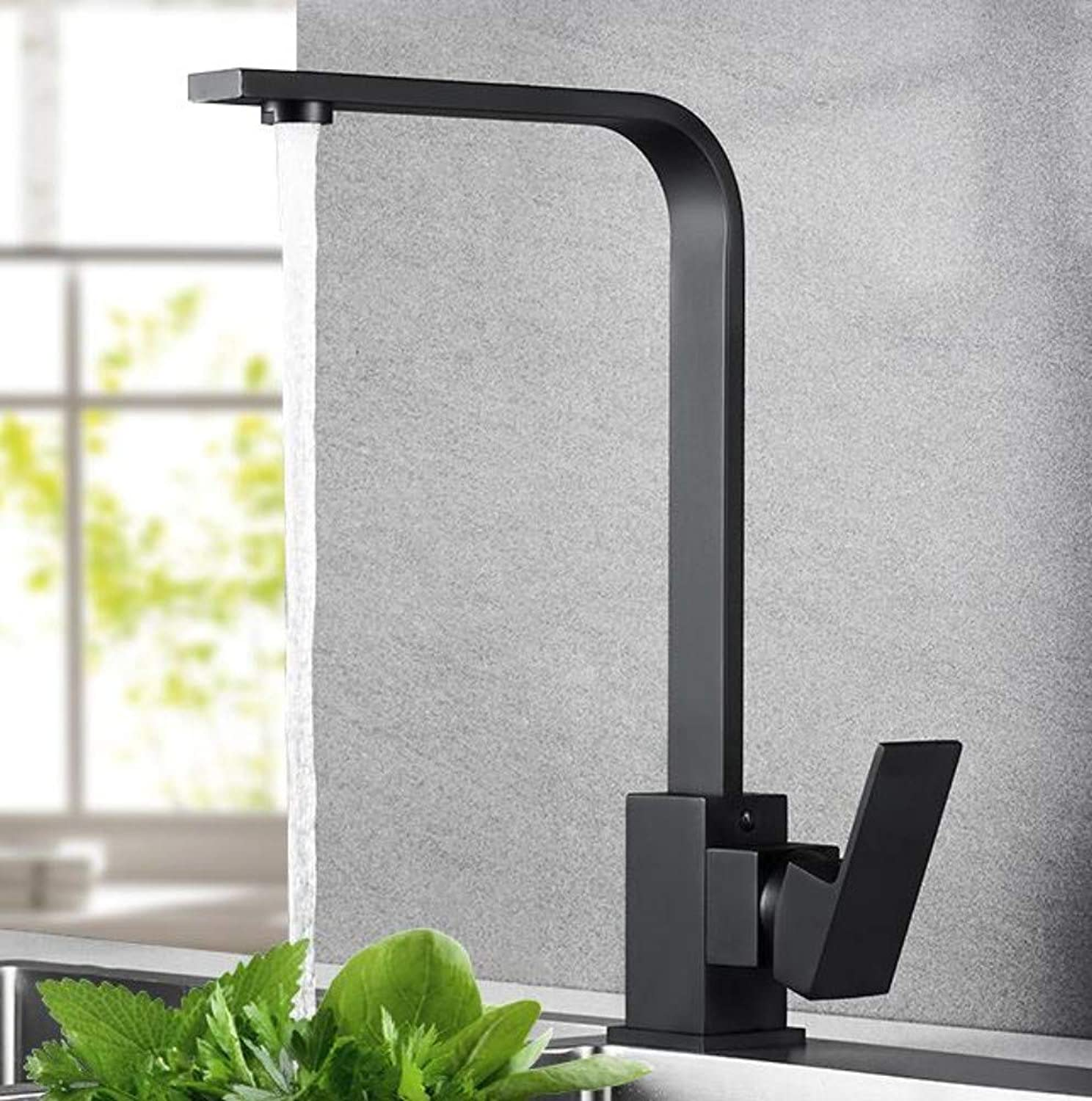 Bathroom Faucet Black Kitchen Sink Sink Sink Hot and Cold Copper Square redatable Kitchen Sink Sink Faucet
