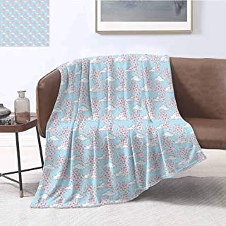 Luoiaax Cherry Blossom Rugged or Durable Camping Blanket Pattern with Sakura and Clouds Hand Drawn Style Spring Blossom Tree Warm and Washable W70 x L84 Inch Pink Cocoa Sky Blue