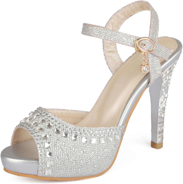 Plus Size 33-43 Spike High Heels Sandals Women Peep Toe Buckle Strap Party Wedding shoes Woman