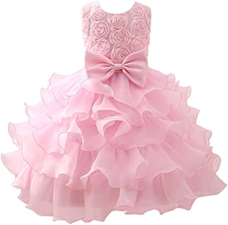 Zhuhaitf 高品質 Fashion Baby Girls Dress 3D Flowers Princess Formal Party Wedding Bridesmaid Tulle ドレス for 0-12 year old