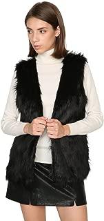 Dikoaina Women Lady Faux Fur Vest Waistcoat Long Hair Winter Warm Coat Jacket