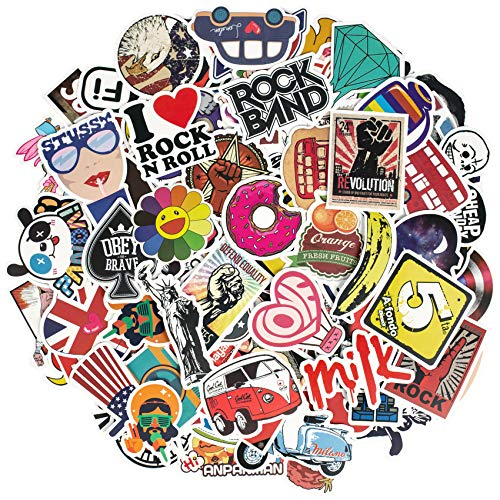 Korlon 100 Pack Laptop Stickers, Skateboard Stickers Bomb Graffiti Bumper Stickers for Car, Water Bottles, Motorcycle Bicycle Luggage Laptop, Waterproof, Random Patterns