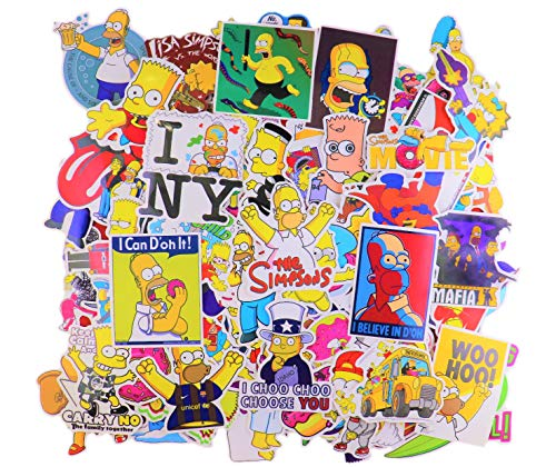 Laptop Sticker Pack (100Pcs) The Simpsons Merchandise Waterproof Vinyl Stickers for Water Bottles,Laptop,Kids,Cars,Motorcycle,Bicycle,Skateboard Luggage,Bumper Stickers Hippie Decals Bomb