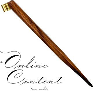 Handmade Simple Wooden Straight Calligraphy Oblique Nib Pen Holder with removable multi-fit brass flange Right Handed Dip Pen with online content by Penmen United