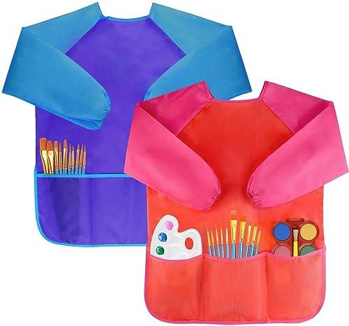 Amaza 2Pcs Tabliers Peinture Blouse Tablier Manches Longues Enfant 2-8 ans (Bleu & Rouge)