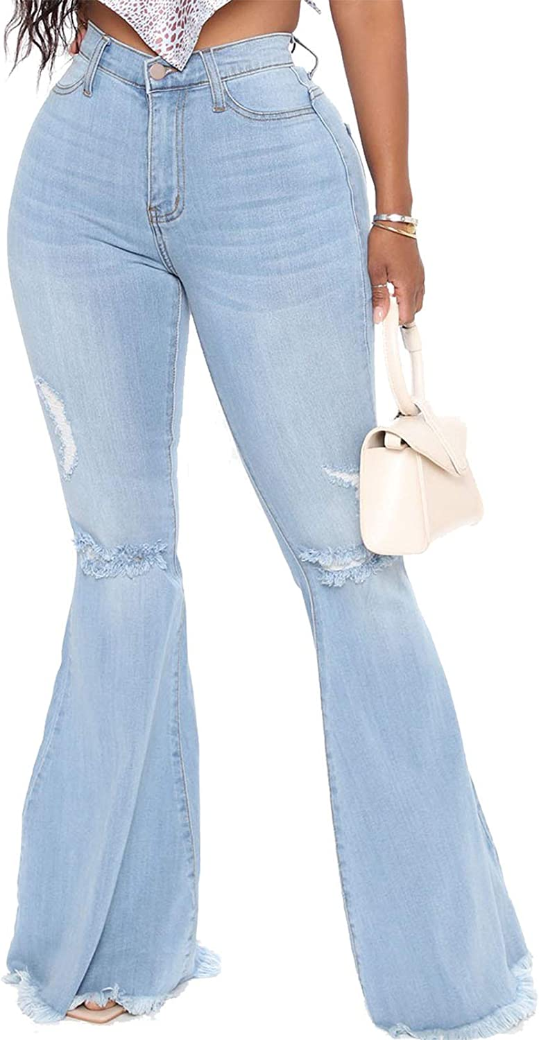 YouSexy Many popular brands Women's Flare Bell Bottom Destroyed Ripped Fl Weekly update Knee Jeans