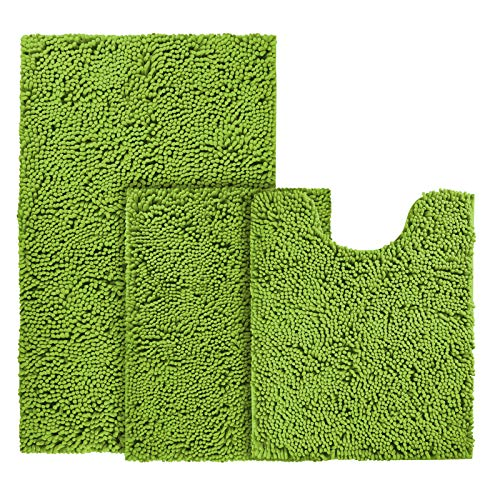 BYSURE Green Bathroom Rug Set 3 Piece Non Slip Extra Absorbent Shaggy Chenille Bathroom Rugs and Mats Sets, Soft & Dry Bath Rug/Mat Sets for Bathroom Washable Carpets Set
