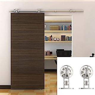 Hahaemall 1.5m Interior moderno Interior Acero inoxidable Percha Corredera individual Deslizante Puerta de madera Hardware...