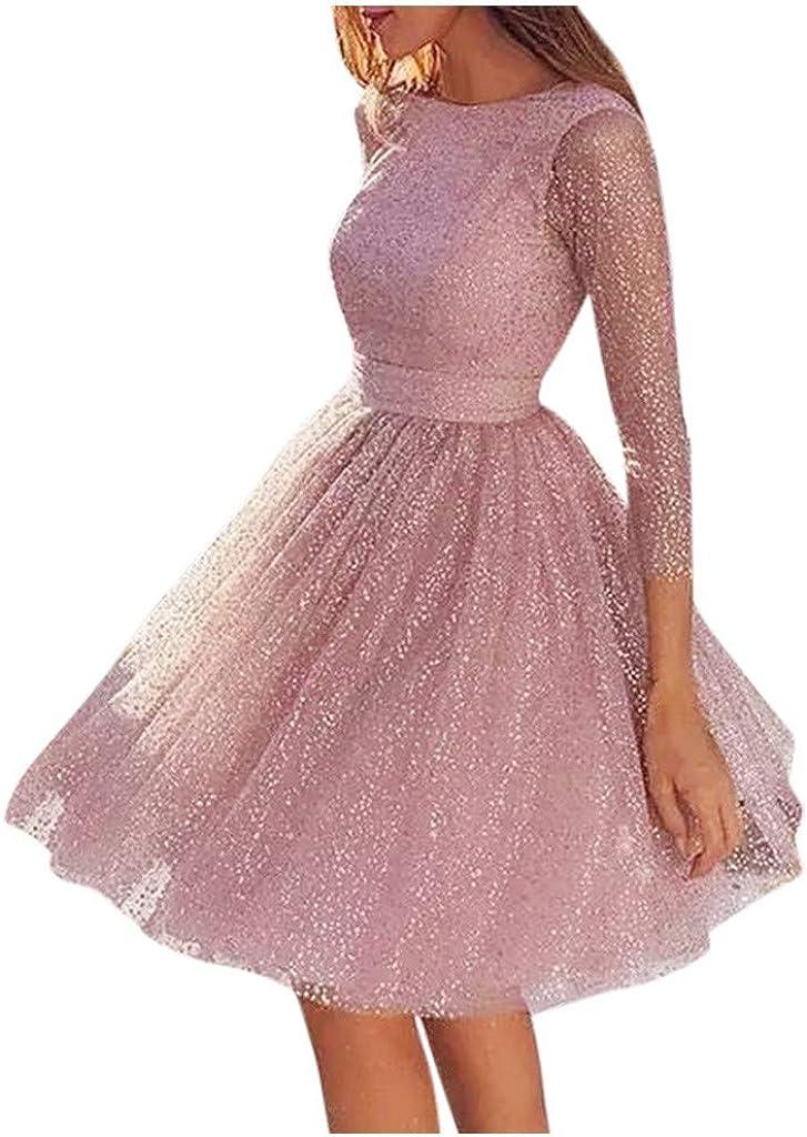 SHOPESSA Dresses for Women Wedding Guest Fall Long Sleeve Crewneck Net Yarn Backless Corset Dresses Slim Fit Party Dress