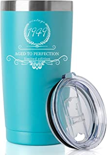 1949 70th Birthday Gifts for Women and Men Tumbler, Party 70th birthday decorations, Best Anniversary Presents Ideas Him Her Husband Wife Mom Dad, 20oz Stainless Steel Tumbler (Turquoise, 1949)