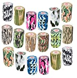 3 Inch Self Adhesive Medical Bandage Wrap Sport Tape (Camo Variety) (18 Pack) Strong Elastic Self Adherent Cohesive First Aid Sport Flex Rolls for Wrist Ankle Knee Sprains and Swelling