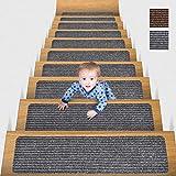 MBIGM 20cm X 65cm (Paquete de 15) Alfombras Antideslizantes Peldaños de Escalera Alfombrilla Antideslizante Interior para niños Mayores y Mascotas con Adhesivo Reutilizable, Gris