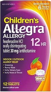 Allegra Childrens 12 Hour Allergy Relief, Orange Cream Flavored, 12 Tablets