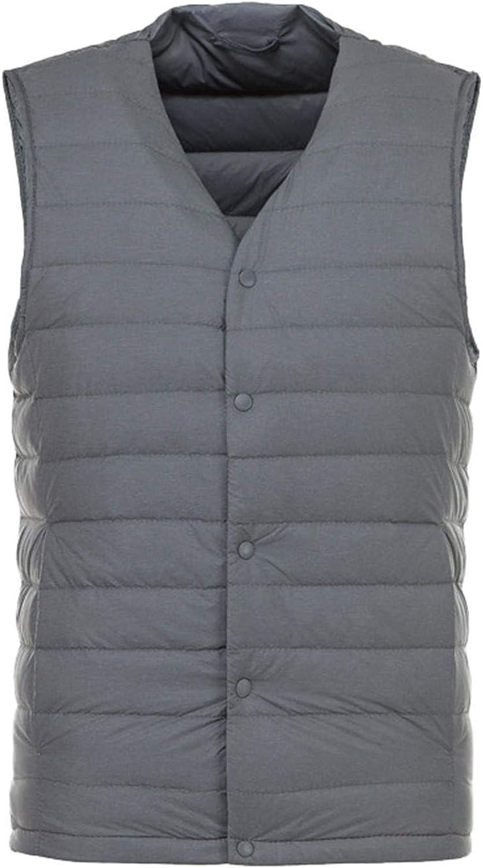 Matt Fabric Men's Down Vest Ultra Light Down Vest Portable Coat Man Warm Liner Gray M