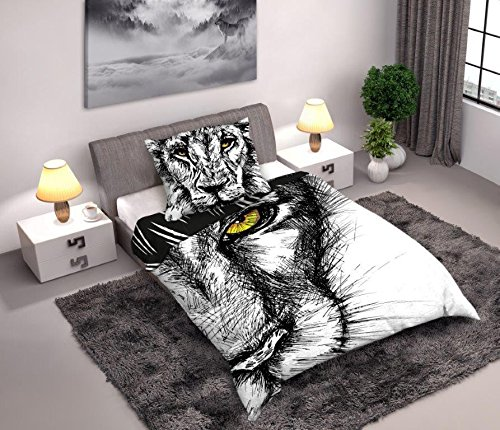 Bed Set Wild Leon Lion Animal Nature 160x200cm Funda De Edredon + Funda de Almohada 100% Algodón Original