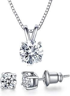 18K White Gold Plated Cubic Zirconia Jewelry Set for Women-2 Carat CZ Solitaire Pendant Necklace and 2X0.5 Carat CZ Stud Earrings