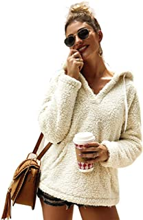 YYW Womens Sherpa Fleece Outwear Hoodies Winter Fuzzy Drawstring V Neck Sweatshirt Pullover Tops with Pockets
