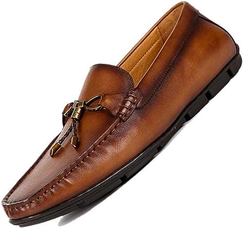 Guisantes Ligeros Sin Cierre zapatos De Cuero Para Hombre Hecho A Mano Británico Casual marrón marrón Oscuro Transpirable Todos Los Días